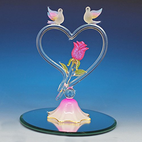 Handmade Glass Heart with two doves and Rose - Love In Bloom