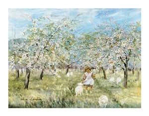 HELENE LEVEILLEE JADE AND THE SHEEPS 11.75X15.75 CHILDREN ART PRINT EG3235
