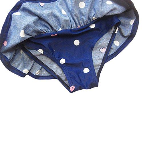 Bébé Filles Tout-petits Un Maillot De Bain À Pois Morceau Bowknot Bain Maillot De Bain Costume Avec Serre-tête Bleu