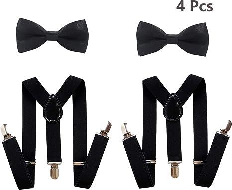 Negro Suspender Bow Tie Kids Set Clip en forma de Y Tirantes ...