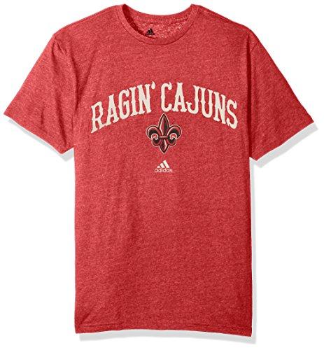 Football Game T-shirt (NCAA Louisiana Lafayette Ragin' Cajuns Men's Pastime Arch Vault Tri-Blend Short Sleeve Tee, Large, Power Red)