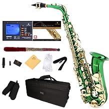 Mendini E-Flat Alto Saxophone, Green Lacquered and Tuner, Case, Pocketbook - MAS-GL+92D+PB