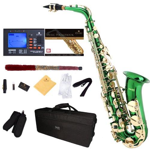 Saxofón alto verde Mendini sintonizador, boquilla, funda xmp