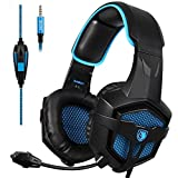 Sades SA-807 Stereo Gaming Headset Headphones 3.5mm Wired Over-Ear with Microphone Volume Control for PS4 PC Mac New Xbox one Laptop iPad iPod (Black Blue)