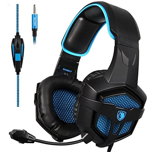 Sades SA-807 Stereo Gaming Headset Headphones 3.5mm Wired Over-Ear with Microphone Volume Control for PS4 PC Mac New Xbox one Laptop iPad iPod (Black Blue) by SADES
