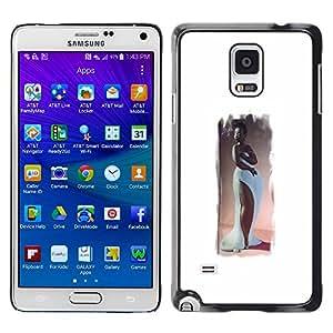 GOODTHINGS Funda Imagen Diseño Carcasa Tapa Trasera Negro Cover Skin Case para Samsung Galaxy Note 4 SM-N910F SM-N910K SM-N910C SM-N910W8 SM-N910U SM-N910 - figura de la mujer del reloj de arena del arte vestido largo