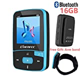 16GB Bluetooth MP3 Player with Clip for Running Lossless Sound Mini Sport Music Player with FM Radio - Expandable Micro SD Card Up to 64GB Sports Armband by DeeFec - Blue