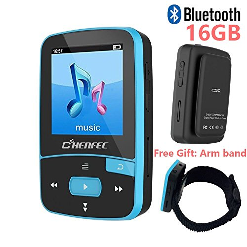 16GB Bluetooth MP3 Player with Clip for Running Lossless Sound Mini Sport Music Player with FM Radio Pedometer – Expandable Micro SD Card to 64GB Armband by DeeFec – Blue
