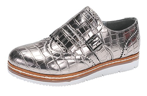 Shoe Loafer Nature Silver Croc Women's Oxford Flatform Wingtip Breeze Embossed WAWqOFCP