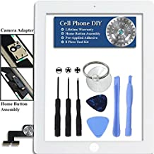 White iPad 2 Digitizer Replacement Screen Front Touch Glass Assembly Replacement - Includes Home Button + Camera Holder + Pre-Installed Adhesive with Tools – Repair Kit by Cell Phone DIY&reg