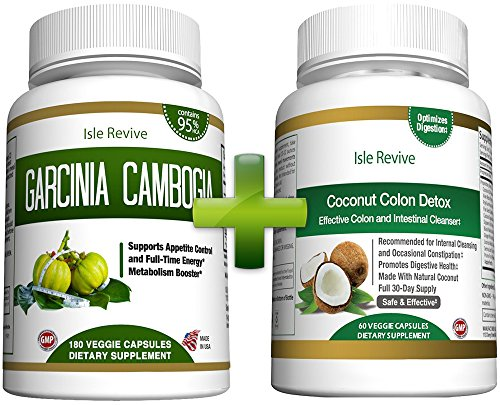 Garcinia Cambogia and Coconut Colon Detox - Bundle 95% HCA for Weight Loss Appetite Suppressant Diet Pills Digestive Laxative Constipation Cleanser Aloe Psyllium Husk Flax Seed Licorice Root Ginger
