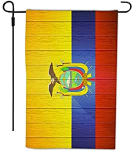 Rikki Knight Ecuador Flag on Distressed Wood Design Decorative House or Garden Full Bleed Flag, 12 by 18-Inch
