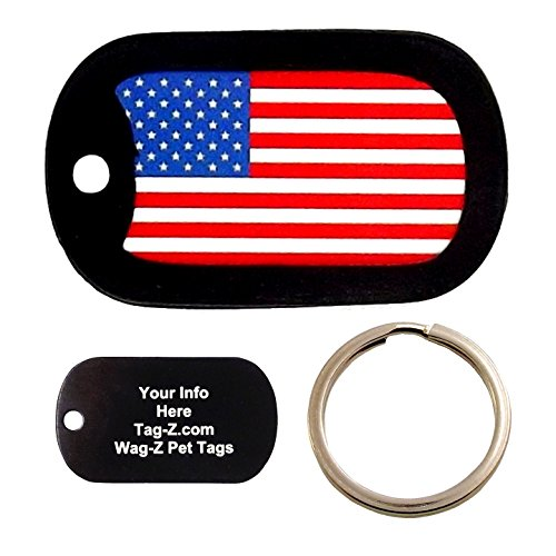 American Pet Tags - Custom Engraved Pet Tag - American Flag - Dog Tag - Tag-Z Wag-Z