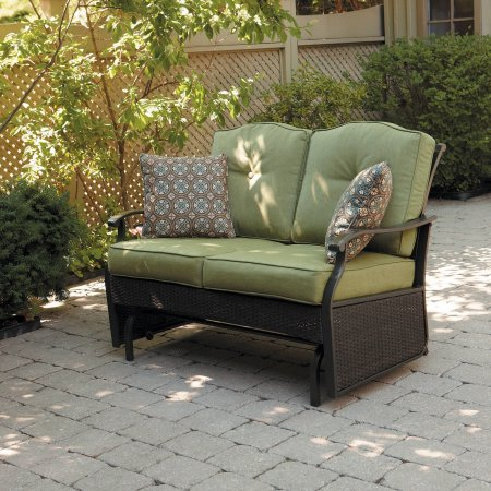 Garden Glider Bench (Better Homes and Gardens Providence Outdoor Glider Bench, Powder Coated Steel Frame, Includes Two Cushions and Two Decorative Pillows that are UV Protected, 7mm Flat Cashmere, Seats 2 (Green))