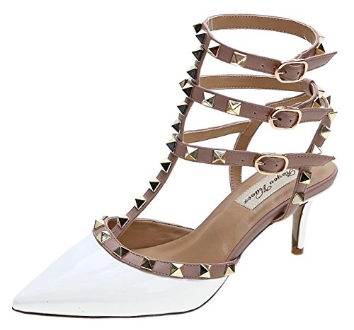 (Royou Yiuoer Fourteen Colors Women's Patent Leather Buckle Studded Sandals T-Strap Kitten Pumps Dress Sandals White 7 B(M) US)