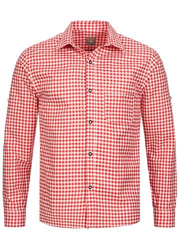 Trachtenhemd kariert in 6 wunderschönen Farben - Slimline - Krempelärmel (L, Kirsche (Rot))