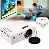 Mini Projector, Lary intel 1080P HD LED Home MulitMedia Theater Cinema USB TV VGA SD HDMI Mini Projector (White)