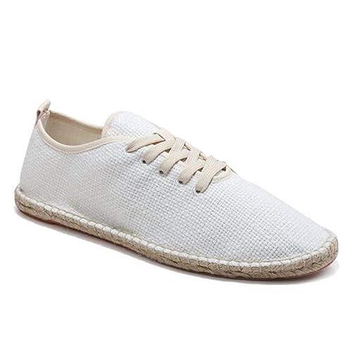 Los Hombres De Lona Zapatos Transpirables Mocasines ResbalóN Sobre SóLido CáñAmo Envolver Mens Alpargatas: Amazon.es: Zapatos y complementos