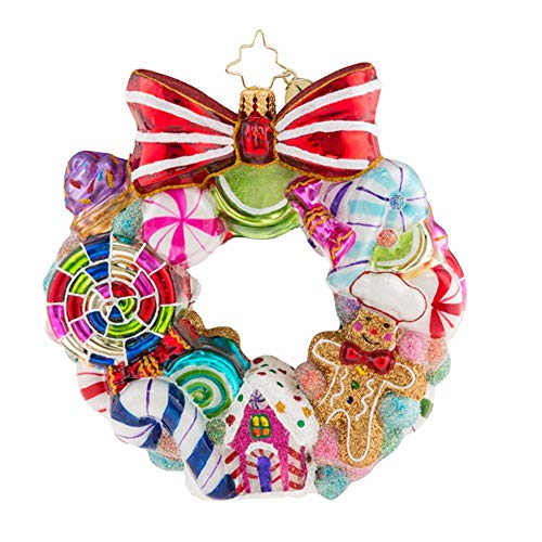 Christopher Radko Sweetest Swirl Gingerbread and Candy Wreath Themed Glass Ornament