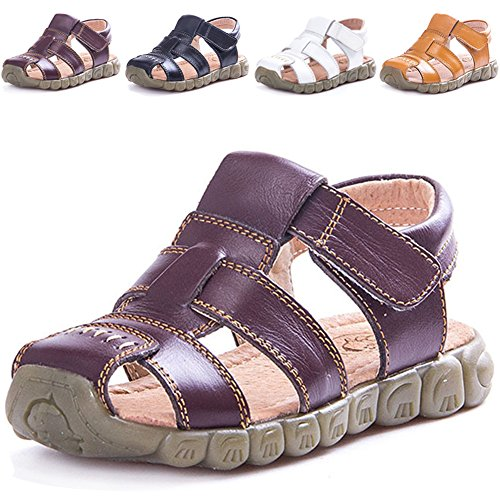 LONSOEN Leather Outdoor Sport Sandals,Fisherman Sandals for Boys(Toddler/Little Kids),Brown,8 M US Toddler