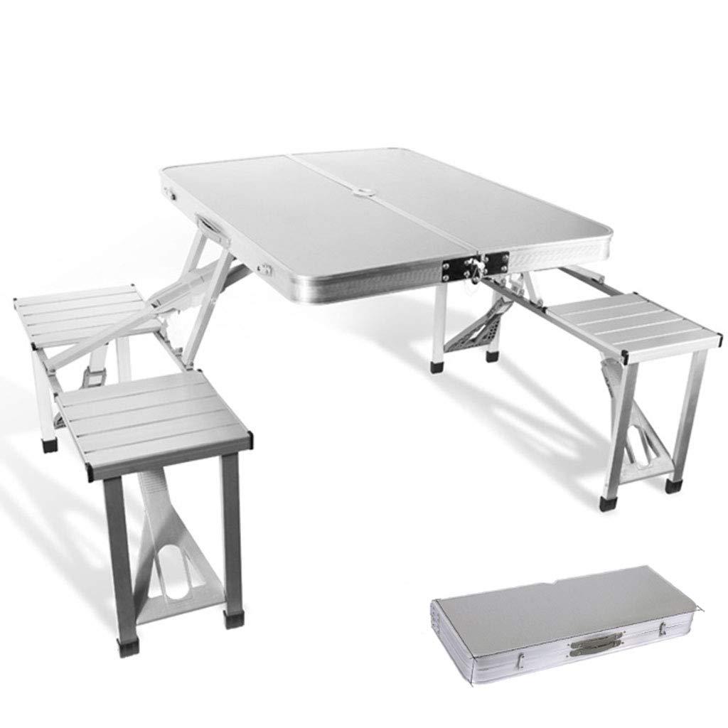 ポータブル折りたたみキャンプテーブルと椅子、アルミ合金のワンピーステーブル、ハンドル付き、4人用テーブル、アウトドアに適して、キャンプ、ビーチ、バーベキュー B07S7DQ9BQ