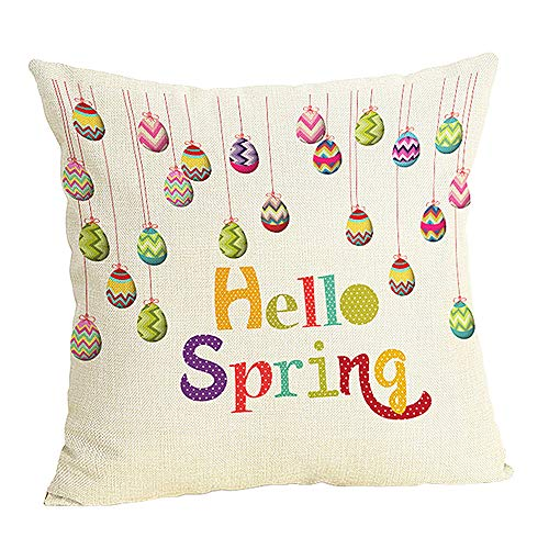 Doliving Easter Colorful Egg Throw Pillow Case Hello Spring Home Decor Cushion Cover for Sofa Couch Bedroom 18x18 Inch Cotton Linen ()