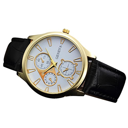 FimKaul Men Retro Design Analog Alloy Quartz Round Business Wrist Watch with Leather Band (B)