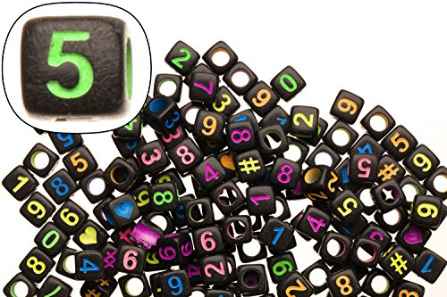 Mix Neon Colored Number Beads Black Base Acrylic Cubes 6x6mm