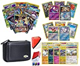 Totem World Pokemon Premium Collection Ultra Rare with 100 Pokemon Cards - Black Card Case - 100 Sleeves - Deck Box