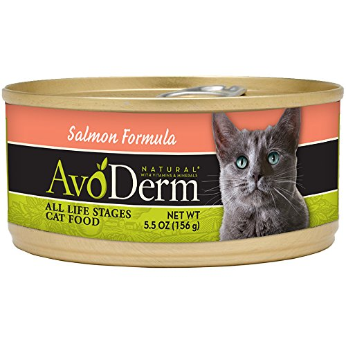 AvoDerm Natural Salmon Formula for Cats, 5.5-Ounce Cans, Cas