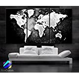 "Large 30""x 60"" 3 Panels 30x20 Ea Art Canvas Print World Map Black & White Contrast Wall Home Office Decor Interior (Included Framed 1.5"" Depth)"