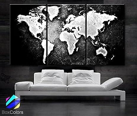 Amazon large 30x 60 3 panels 30x20 ea art canvas print world large 30quotx 60quot 3 panels 30x20 ea art canvas print world map black gumiabroncs Choice Image