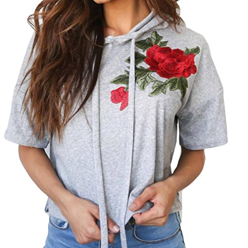 Women Embroidered Applique Hooded Short Sleeve Loose Blouse Casual T Shirt Tops Sweater (M, Gray) (Bodice Cotton Jumper)