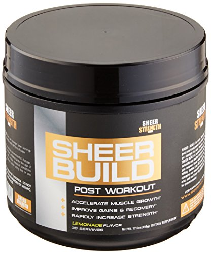 Sheer BUILD, Premium Muscle Builder and Post Workout Recovery Supplement, Science Backed Formula with BCAAs, Creatine Monohydrate, Glutamine, and L-Carnitine, 498 Grams, 30 Day Supply