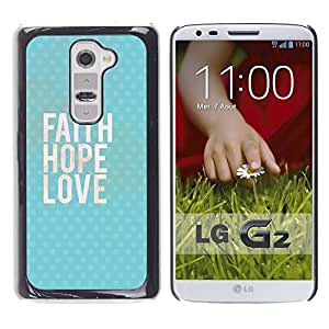 Paccase / SLIM PC / Aliminium Casa Carcasa Funda Case Cover para - Happy Love God Blue Text - LG G2 D800 D802 D802TA D803 VS980 LS980
