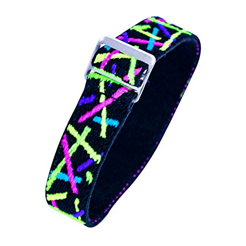 Timex Youth & Adults | Elastic Watch Strap 16mm | Multi-Color Neon Lights Design Fits Time Machines & More (Timex Youth Watch)