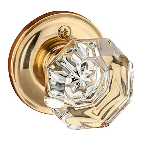 Dynasty Hardware Classic Rosette, Crystal Style Door Knob, Individual Dummy Door Knob, Polished Brass (Glass Dummy)