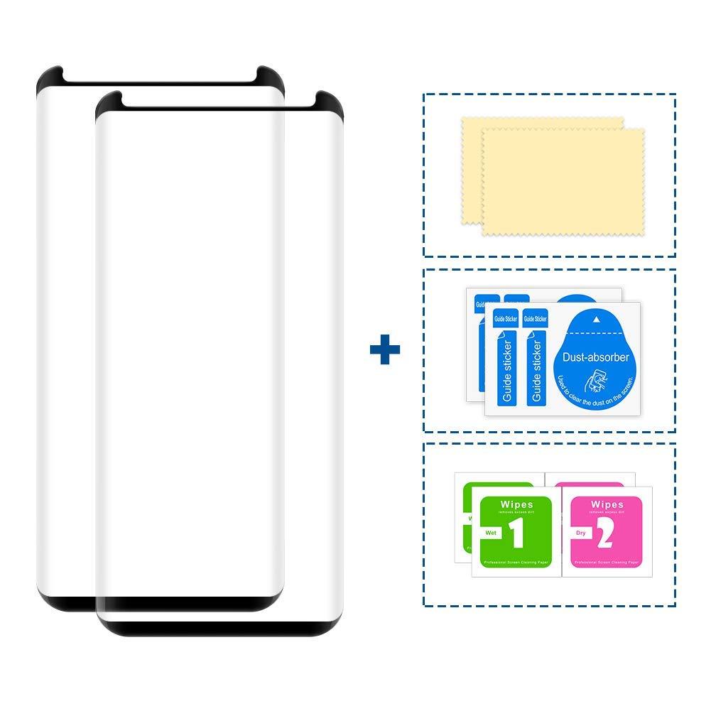 Galaxy S8 Glass Screen Protector, 2 Pack TNSO Premium 9H Hardness Anti-Scratch Full Coverage Tempered Glass Screen Protector Film for Samsung Galaxy S8-Black
