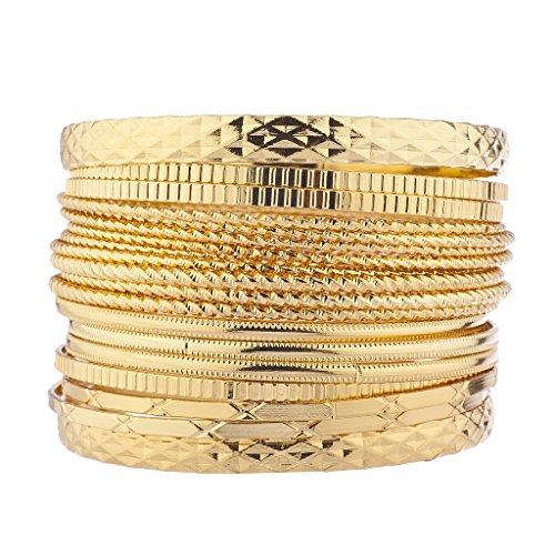 Mixed Bangle Set (Lux Accessories Goldtone Mixed Textured Multi Bangle Bracelet Set)