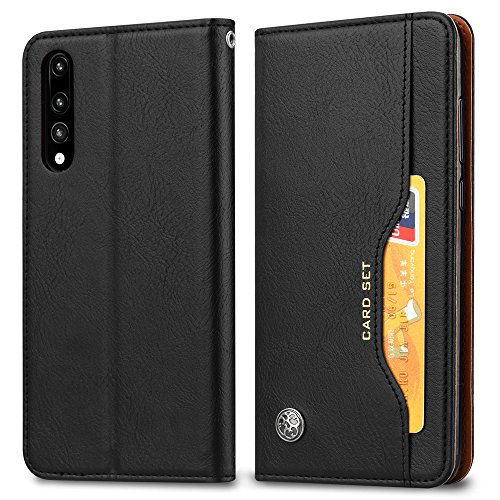 A920 Cell Phone Accessory - Torubia Huawei P20 Case Cover, Excellent Accessory Anti-Scratch Wallet Case [Card Pocket] Protective Shell Armor Hybrid Shockproof Rubber Bumper Cover Card Slot Holder - Black