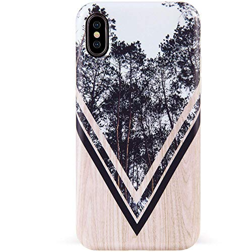 DICHEER iPhone Xs Max Case,Cute Wood and Forest Design for Men Women Girls,Clear Bumper Glossy TPU Silicon Rubber Soft Cover Anti-Scratch Protective Phone Case for iPhone Xs Max