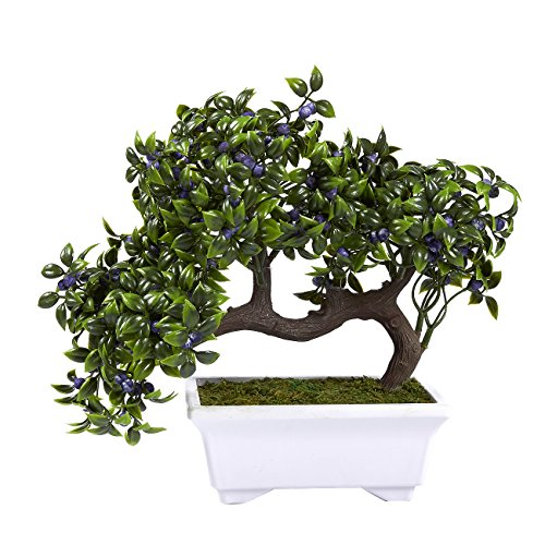 Flower Tree Display (Artificial Bonsai Tree – Fake Indoor Ficus Bonsai Tree Plant for Decoration, Desktop Display, Zen Garden Décor, Green - 10 x 6 x 8 Inches)