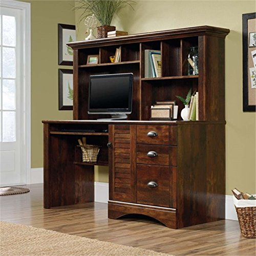 Pemberly Row Computer Desk and Hutch with CPU Storage and Keyboard Drawer, Curado Cherry (Wood Computer Hutch)