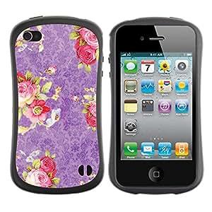 "Pulsar iFace Series Tpu silicona Carcasa Funda Case para Apple iPhone 4 / iPhone 4S , Pink Roses Wallpaper Vintage Retro"""