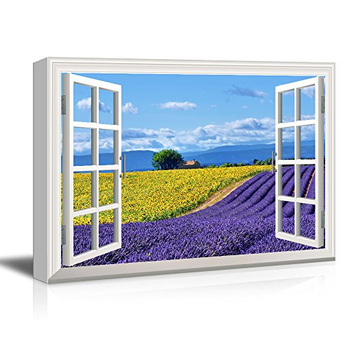 Window View Open Field with Yellow Sunflowers and Purple Lavenders