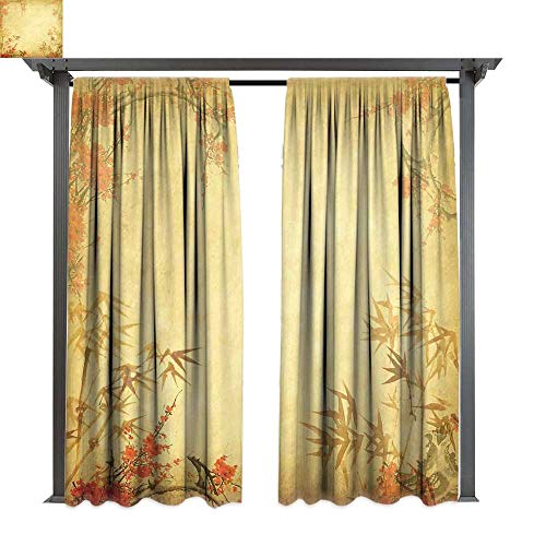 Bamboo, Outdoor Privacy Curtain for Pergola, Bamboo Stems and Blooming Flower Antique Grunge Background Oriental Artwork, Thermal Insulated Water Repellent Drape for Balcony (W84 x L84 Inches Mustard