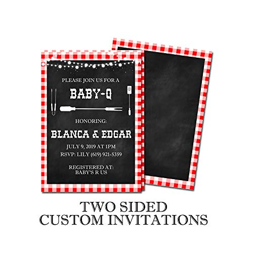 Baby-Q Themed Two Sided Customized Baby Shower Invitations