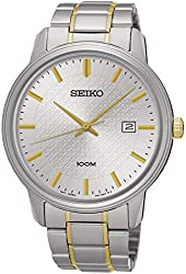 Seiko SUR197 Men's Stainless Steel Two-Tone Bracelet Band Silver Dial Watch