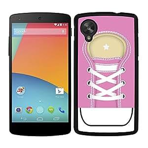 Funda carcasa para LG Nexus 5 diseño zapatilla cordones color rosa borde negro