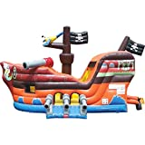 TentandTable Deluxe Pirate Ship Bounce House and Slide Combo - 19'L x 15'W x 14'H - Inflatable Commercial Backyard Bouncer - Includes 1.5 HP Air Blower & Ground Stakes